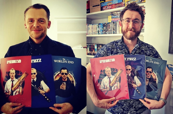 Simon Pegg & Ali Plumb with Sam Gilbey Cornetto Trilogy art prints