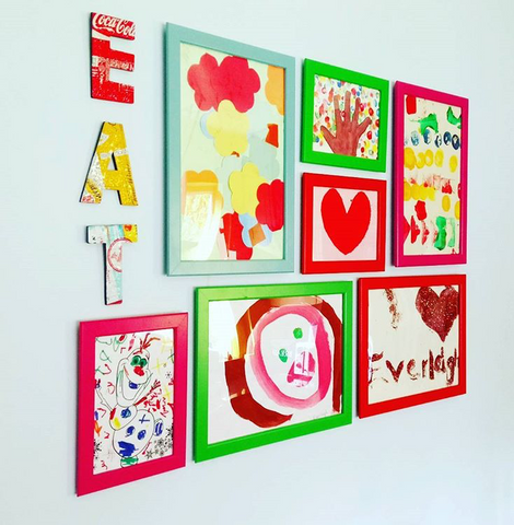 Kitchen gallery wall, kids art