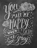 Chalkboard Artwork - You make me happy Chalkboard