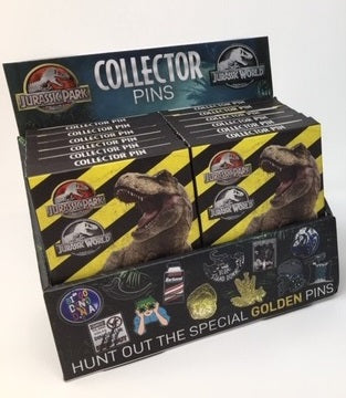 Jurassic Park Mystery Pin Badge Display with 12 Pins