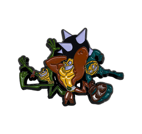 Battletoads pin badge featuring Rash, Zitz and Pimple