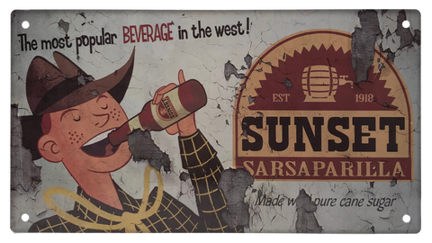 Fallout - Sunset Sarsaparilla distressed sign