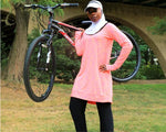 All Sport Long Sleeve Workout Top - KNEE LENGTH - LiaWear Action, modest workout clothes, sport hijab, long sleeve workout top, modest burkini, islamic swimsuit, cute modest, modest workout pants, muslimah sportswear, muslim modest sportswear, Islamic athletic wear, modest clothing, fit muslimah, active muslimah, fit hijabi, hijab shop, online, plus size muslimah, plus size muslimah sport clothing