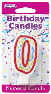 '0' Red Numeral Candle