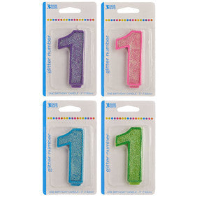 '1' Numeral Glitter Candle
