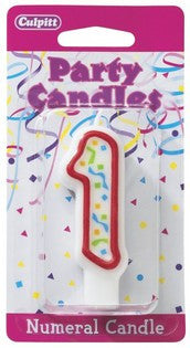 '1' Red Numeral Candle