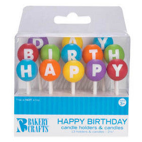 3D Round Happy Birthday Candle Holders & Candles