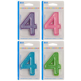'4' Numeral Glitter Candle
