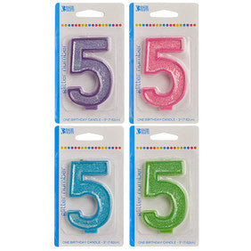 '5' Numeral Glitter Candle