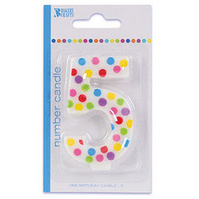 '5' Numeral Polka Dot Candle