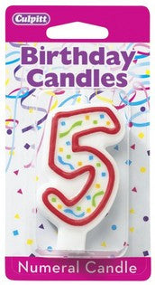 '5' Red Numeral Candle