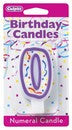 '0' Purple Numeral Candle