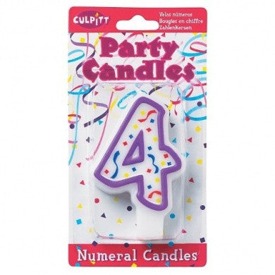 '4' Purple Numeral Candle
