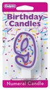 '9' Purple Numeral Candle