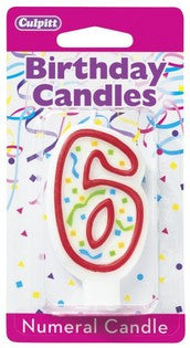 '6' Red Numeral Candle