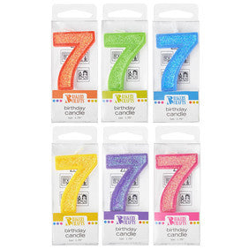 '7' Glitter Numeral Candles