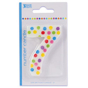 '7' Numeral Polka Dot Candle