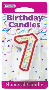'7' Red Numeral Candle