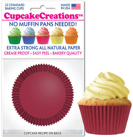 Burgundy Greaseproof Liner - Cupcake Creations