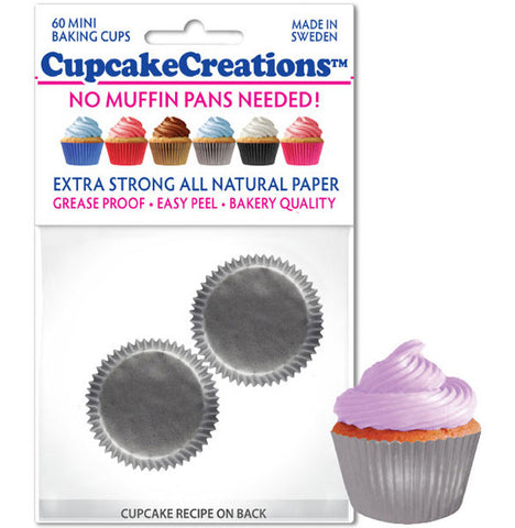 Mini Silver Greaseproof Liner - Cupcake Creations