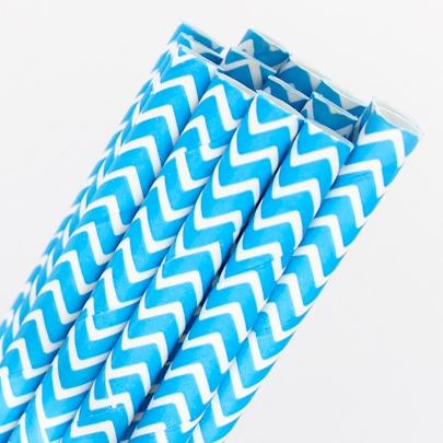 Blue Chevron Straws