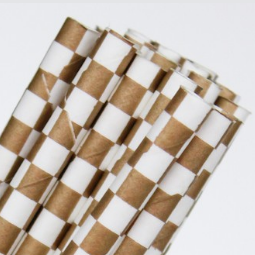 Gold Checkered Straws