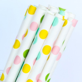 Pastel Rainbow Dot Straws