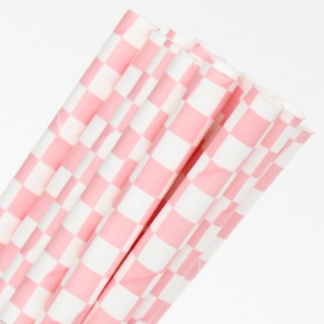 Pink and White Checkered Straws