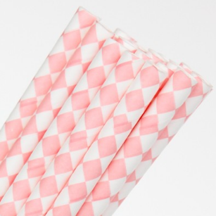 Pink and White Diamond Straws