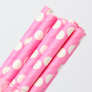 Pink with White Dots Straws