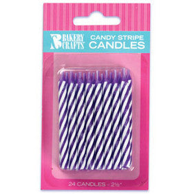 Puprple Candy Stripe Spiral Candles