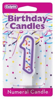 '1' Purple Numeral Candles