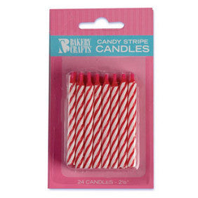 Red Candy Stripe Spiral Candles