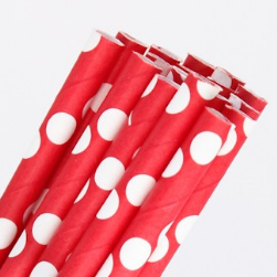 Red with White Dots Straws