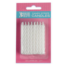 White Candy Stripe Spiral Candles