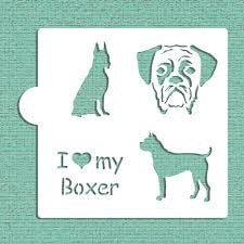 I Love My Boxer Cookie Stencil