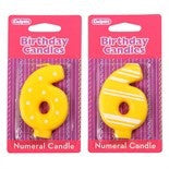 '6' Stripe and Dot Numeral Candle