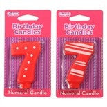 '7' Stripe and Dot Numeral Candle