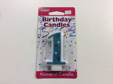 '1' Blue Polka Dot Candle