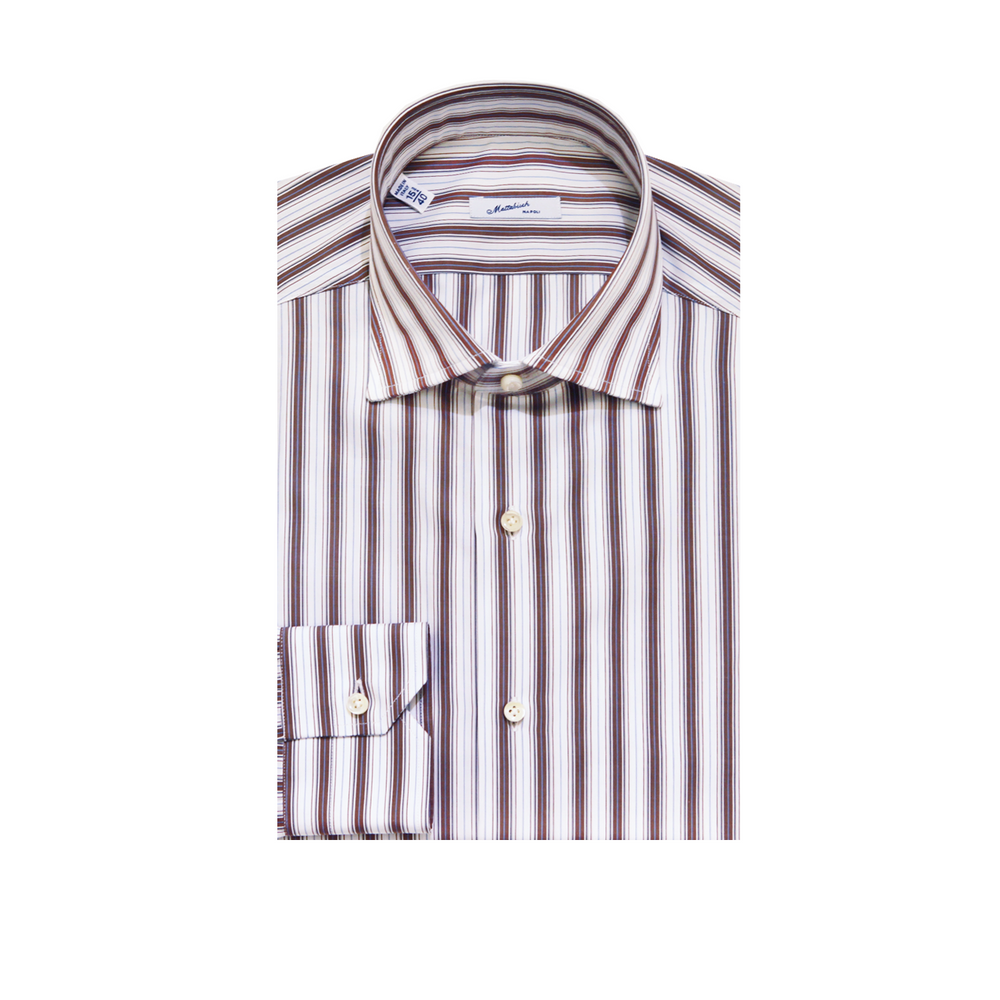 Mattabisch Cotton Shirt by Kiton (Blue & Brown)