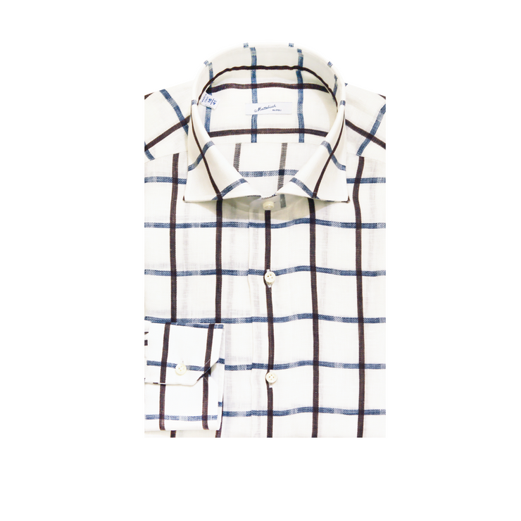 Mattabisch Linen Shirt (Blue & Dark Brown)