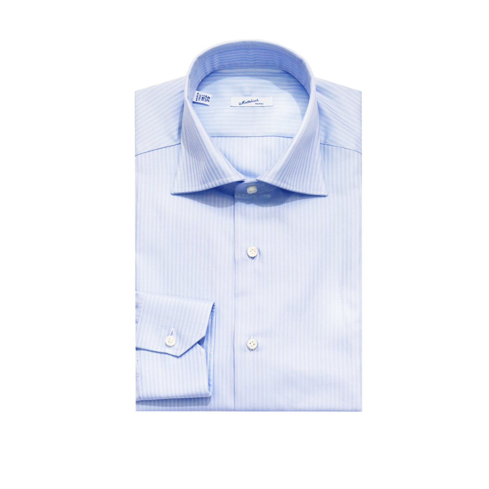 Mattabisch Cotton Shirt by Kiton (Light Blue Stripes)