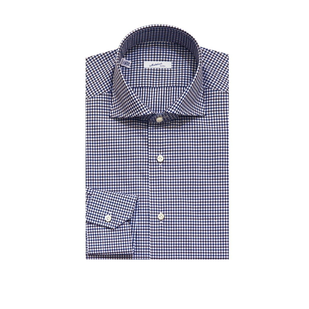 Mattabisch Cotton Shirt by Kiton (Blue & Black Grid)