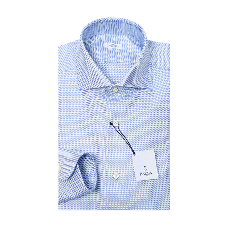 Classic Weave Pattern Dress Shirt - Blue