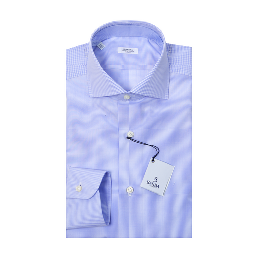 Classic Small Check Dress Shirt - Light Blue