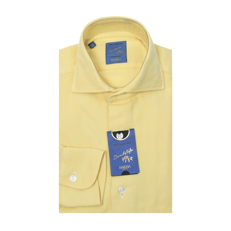 Dandy Life Herringbone Flannel Shirt - Yellow
