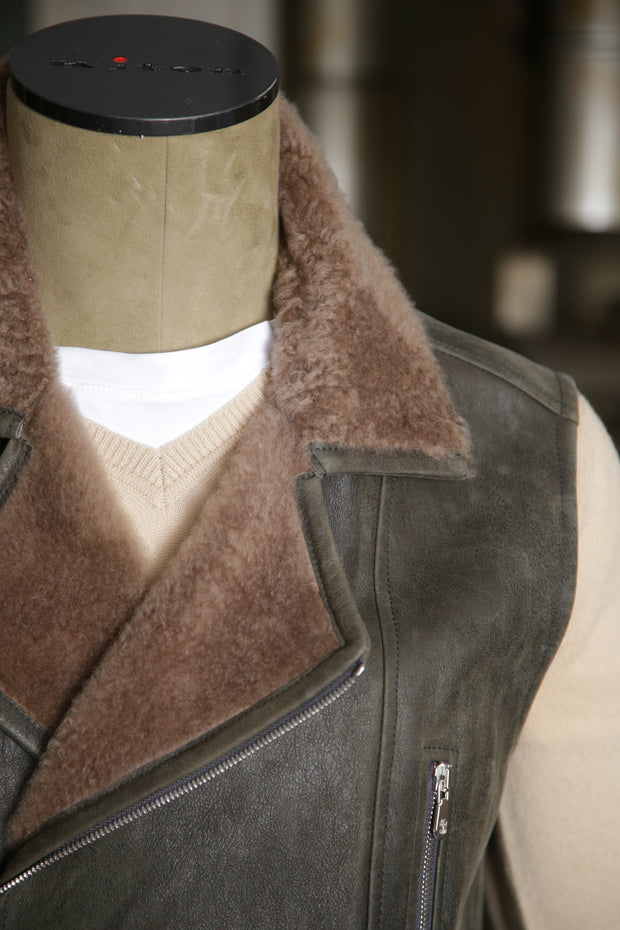 Brunello Cucinelli Leather Vest with Shearling Detail