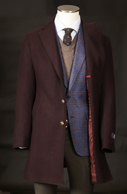 Men's Cashmere & Wool Overcoat in Burgundy Herringbone
