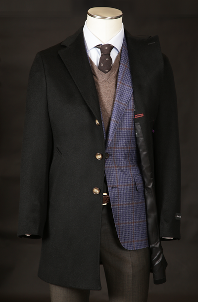 Men's Wool & Cashmere Overcoat in Black