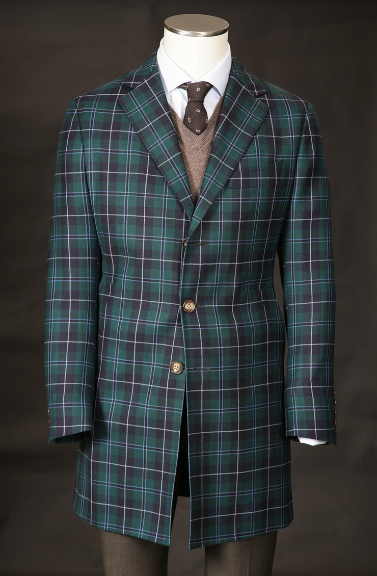 Men's Wool Overcoat in Green Tartan